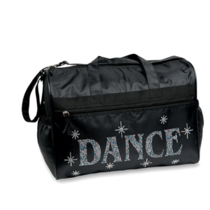 Durable nylon dance bag spells DANCE with over one thousand colorful rhinestones.